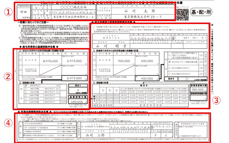 給与所得者の基礎控除申告書・給与所得者の配偶者控除等申告書・所得金額調整控除申告書 記入方法