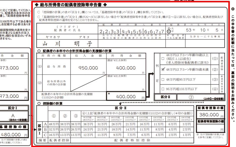 給与所得者の配偶者控除等申告書 記入方法